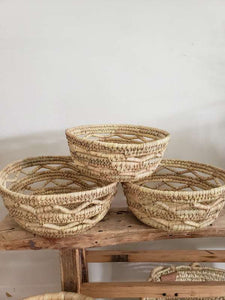 set of 3 woven grass baskets