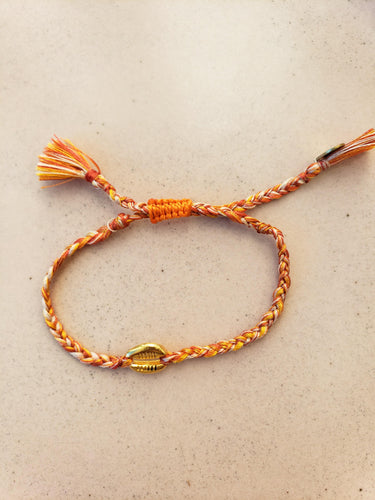 orange shell layering bracelet