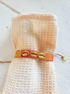 sunset shell beaded layering bracelet