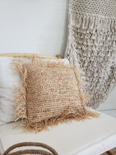 "Load image into Gallery viewer, 16"" raffia pillow"