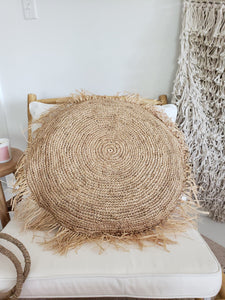 "24"" circle raffia pillow"