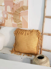 Load image into Gallery viewer, mustard tassel pillow