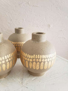 stoneware gold pattern candle holder