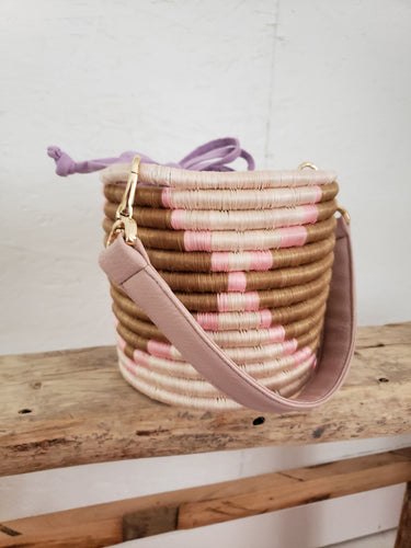 pink and taupe bucket back