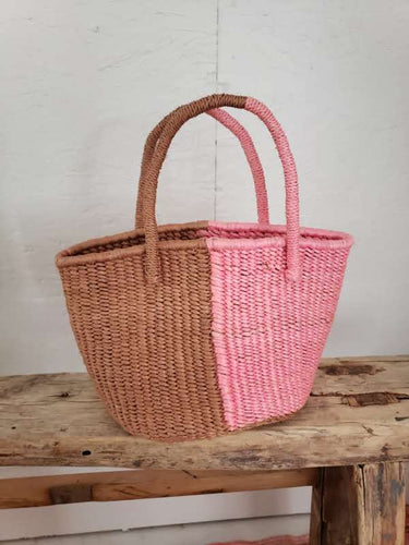 two toned woven bag