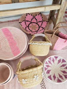 blush and purple woven wall basket
