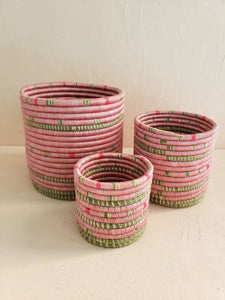 set of 3 pink woven baskets