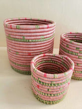 Load image into Gallery viewer, set of 3 pink woven baskets