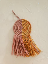 Load image into Gallery viewer, pink and orange raffia fringe disc ornament