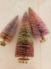 Load image into Gallery viewer, set of 3 pink glittered bottle brush trees