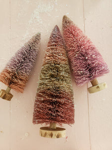 set of 3 pink glittered bottle brush trees