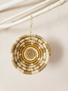 tan and gold basket ornament