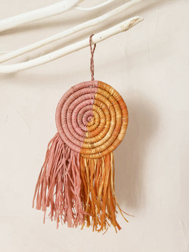pink and orange raffia fringe disc ornament
