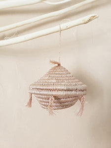 blush tassels basket ornament
