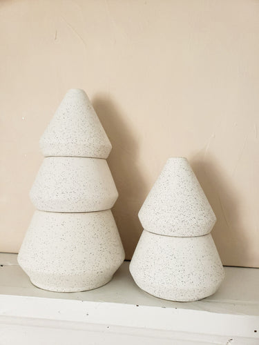 Cypress and fir ceramic tree stack candle