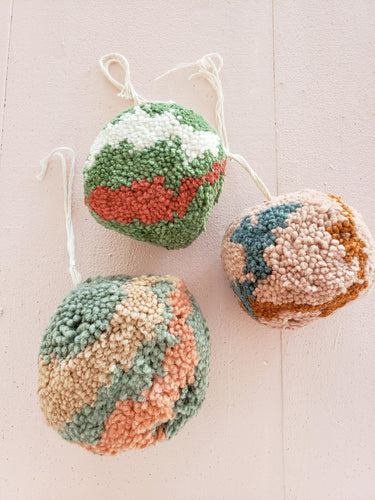 set of 3 marbled pom pom ornaments