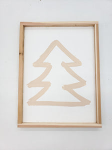 taupe tree wooden sign