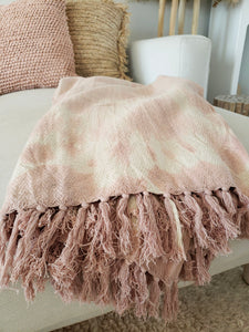 pink tie dye throw blanket