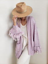 Load image into Gallery viewer, lavender fringe cardigan