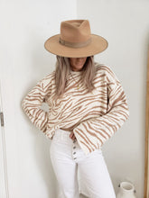 Load image into Gallery viewer, Taupe zebra print sweater