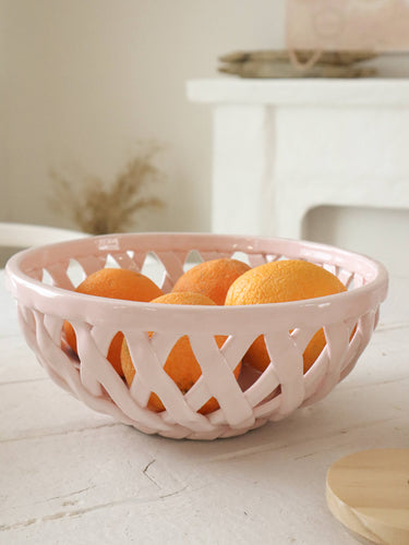 Pink ceramic basket bowl