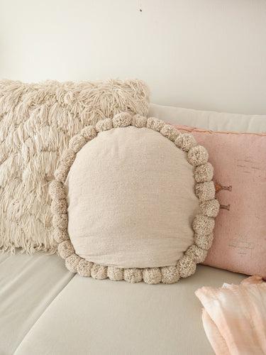 round pom pom pillow cover