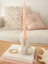 Load image into Gallery viewer, beige marble candle holder