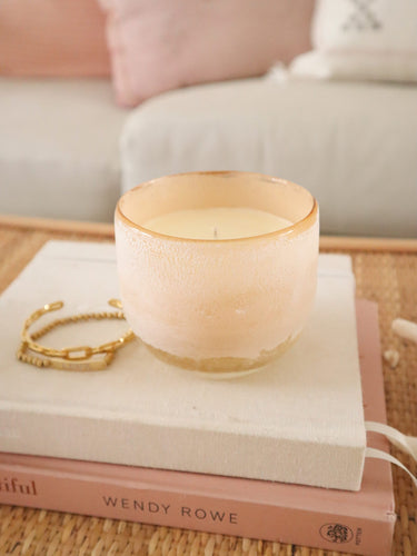 Coconut milk frosted glass candle -two sizes