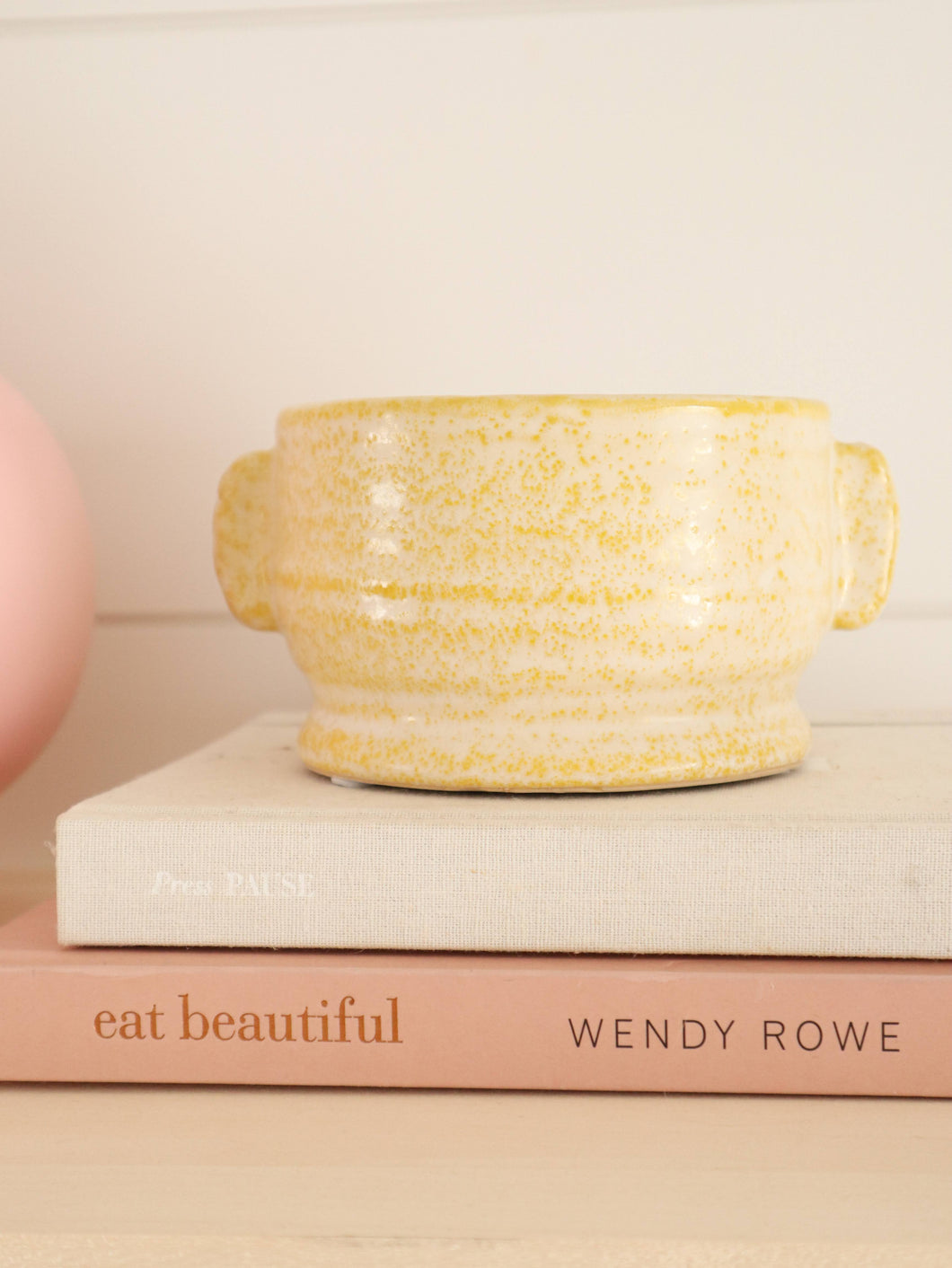 yellow stoneware planter