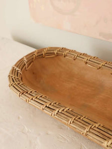 mango wood and woven bowl