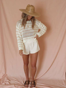 Piper peach striped sweater