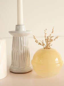 white textured candle holder