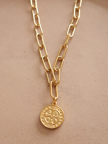 Leonie paperclip Chain Coin necklace