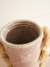 Load image into Gallery viewer, Pink woven pom pom vase