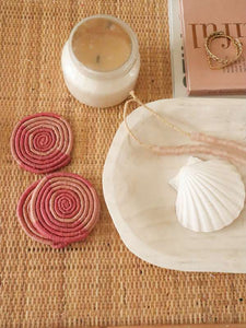 Pink woven coasters