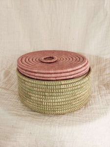 pink lidded basket