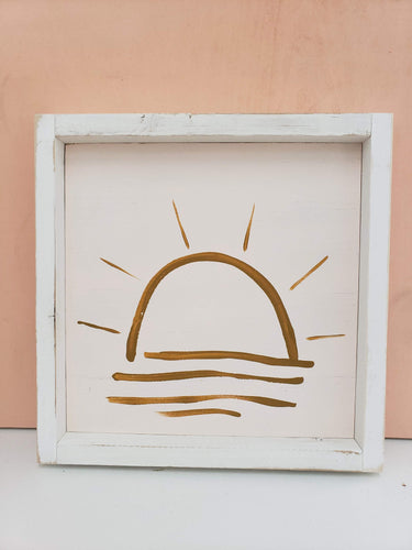 blush sunset wooden sign