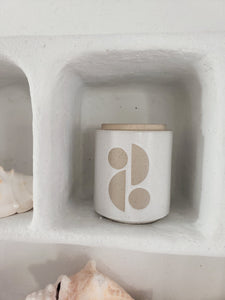 white Sun shapes Paddywax candle
