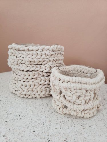 small macrame woven candle holder