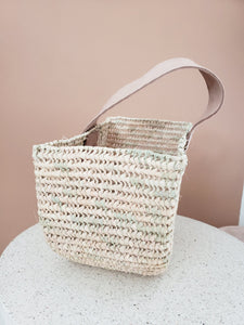 sea grass basket with leather handle