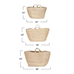 Jute basket with handle
