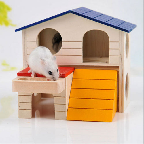 Cute Small Pet Foldable Wooden  Two Story Villa For  Ferret Rabbit Squirrel Guinea Pig Mouse Rat Rat
