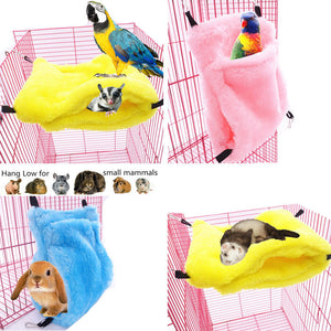 Cute Small Animal Suspended Warm Cotton Pet Hamster Hammock Bed Mat For Guinea Pig Rabbit Hanging Bed Cage Accessories