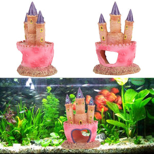 Cartoon Pink Resin Castle Aquariums Fish Tank Landscape Decorations Tower Ornaments for Aquatic Fish Pets Supplies