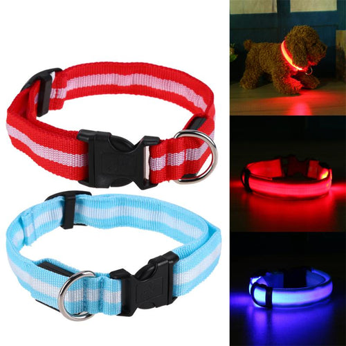 Nylon LED Dog Collar Night Safety Flashing Glow Collars for Pet Dogs Cat Walking Luminous Fluorescent Collars Pet Supplies