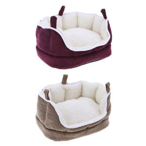 Fleece Warm Bed House for Hamster Squirrel Rabbit Nest Small Animals Hanging Hammock Washable Pet Sofa Cushion