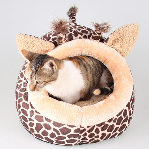 Soft Warm Leopard Pet Sleeping Bag House for Small Medium Dog and Cats - S/M/L