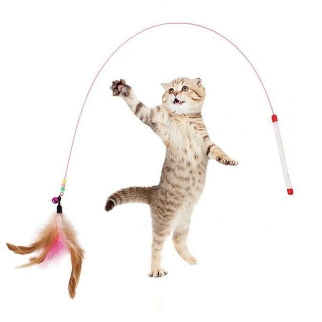 Funny Toys Pet Cat Feather Bell Rod Kitten Teaser Stick Interactive Funny for Cats Scratching Playing Training Pet supplie