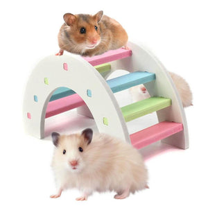 Cute Hamster Colorful Ladder Toys Small Animals Climbing Wood Rainbow Bridge Toy Pet Accessories Hamster Ladder Toy Pet Supplies