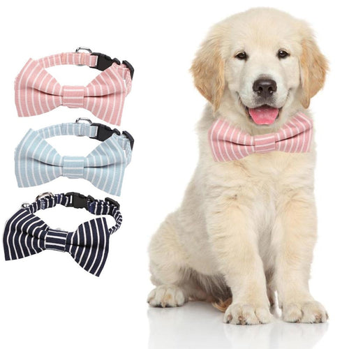 Soft Cotton Dog Collar Breathable Bow Puppy Necklace Leash for Dog Pet Accessories Supplies Safety Collars